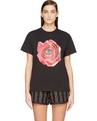 MSGM Black Rose Print Toiletpaper Edition T Shirt