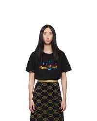 Gucci Black Sequin Vintage Logo T Shirt