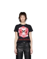 Alexander McQueen Black Skull Flower T Shirt