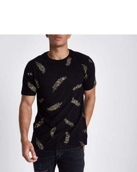 River Island Black Slim Fit Feather Print Crew T Shirt