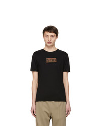 Fendi Black Suede Forever Patch T Shirt