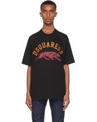 DSQUARED2 Black Tiger Slouch T Shirt