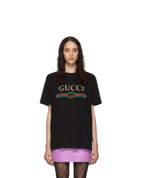 Gucci Black Vintage Logo T Shirt