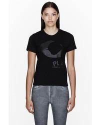 Comme des garons play black jersey tonal print t shirt medium 14168