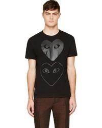 Comme des Garcons Comme Des Garons Play Black Two Hearts T Shirt