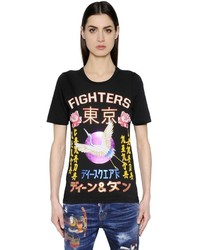 Dsquared2 Fighters Japanese Printed Jersey T Shirt