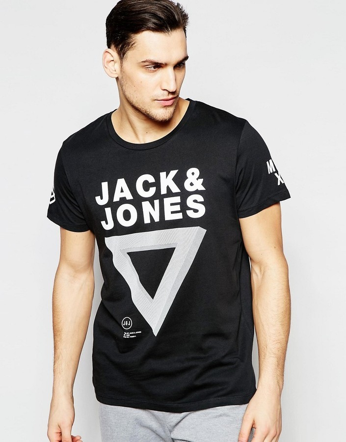 b258a5f95ead2a ... Jack and Jones Jack Jones T Shirt With Triangle Print ...