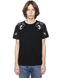Valentino Panther Printed Cotton Jersey T Shirt