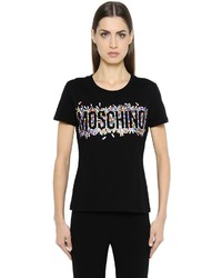 Moschino Pill Logo Printed Cotton Jersey T Shirt