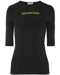 Balenciaga Printed Textured Stretch Jersey Top