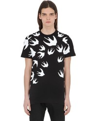 McQ by Alexander McQueen Swallows Printed Cotton Jersey T Shirt