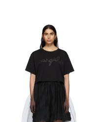 MM6 MAISON MARGIELA Black Logo Cropped T Shirt