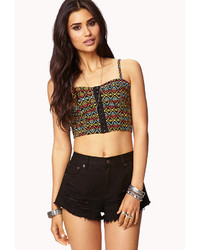Forever 21 Cropped Tribal Print Bustier