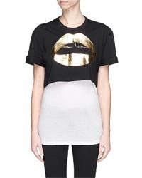 Nobrand Lara Lip Foil Print Cropped T Shirt