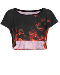 Topshop Life 92% Polyester8% Elastane Machine Washable Fire Print Crop Tee