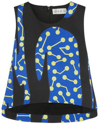 Lulu Co Cropped Printed Cotton Twill Top