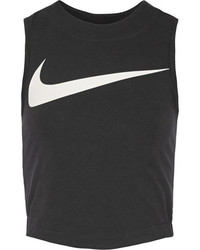 Nike Swoosh Cropped Stretch Cotton Jersey Tank Black