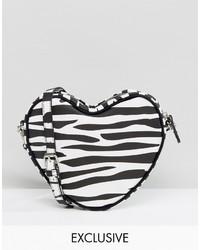 Lazy Oaf Zebra Print Heart Cross Body Bag