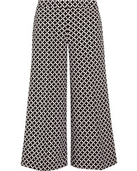 MICHAEL Michael Kors Michl Michl Kors Cropped Printed Stretch Crepe Culottes Black