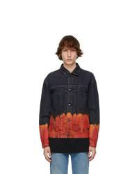 Marcelo Burlon County of Milan Black And Orange Denim Bleach Flame Jacket