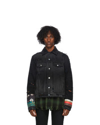Amiri Black Denim Patch Scarves Trucker Jacket