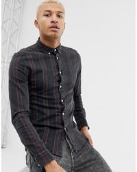 ASOS DESIGN Skinny Stretch Denim Stripe Shirt