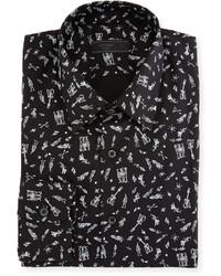 Prada Music Print Dress Shirt Black