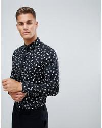 ASOS DESIGN Smart Stretch Slim Ditsy Print Work Shirt In Black