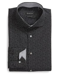 Bugatchi Trim Fit Star Dot Print Dress Shirt