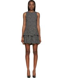 Saint Laurent Black Heart Print Ruffled Dress