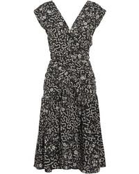 Isabel Marant Glory Ruched Printed Silk Blend Dress Black