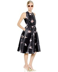 Rochas Open Back Ballerina Print Duchesse Dress
