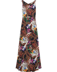 Etro Open Back Printed Silk Crepe Gown Brown