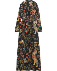 Etro Printed Silk Crepe Gown Black