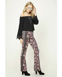 Forever 21 Flared Ornate Rose Print Pants