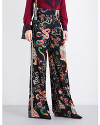 Etro Floral And Tiger Print Wool Twill Trousers