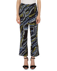 Erdem Verity Cropped Flare Leg Pants Black Multi