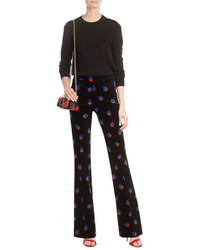Victoria Victoria Beckham Printed Velvet Cady Flared Trousers
