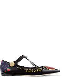 Dolce & Gabbana Embellished Printed Glossed Leather Point Toe Flats Black