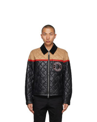 Burberry Black And Beige Quilted Woodside Harrington Jacket