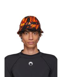 Marine Serre Black And Orange Leather Flames Bob Hat
