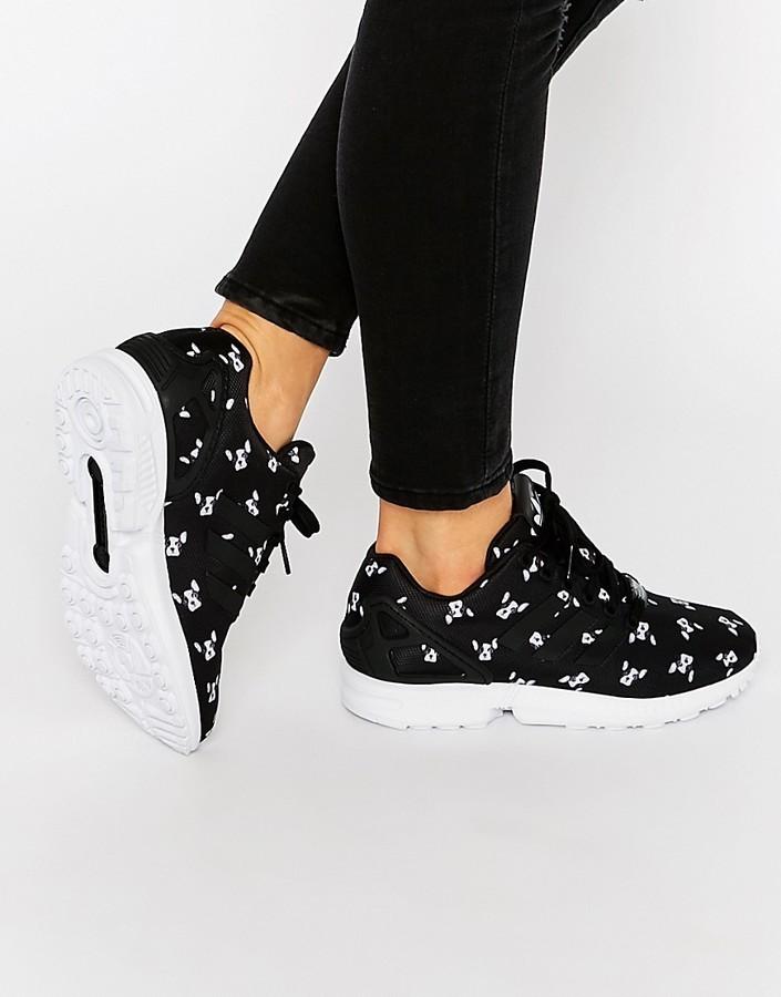 Originals X Rita Ora French Bull Dog Print Zx Flux Sneakers