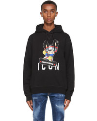 DSQUARED2 Black Graphic Icon Hoodie