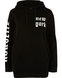 River Island Black New York Print Hoodie