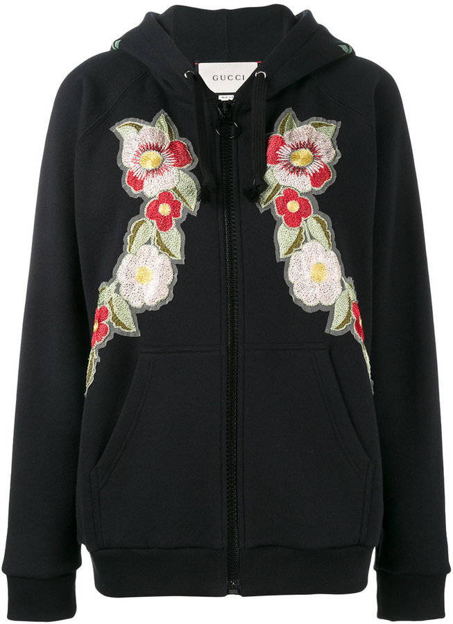 5c5f46a89be ... Gucci Fake Rose Embroidered Hoodie