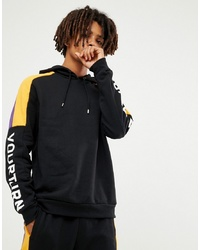 YOURTURN Hoodie In Black With Colour Block