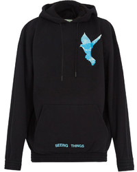 Off-White Not Real Dove Print Hooded Cotton Sweatshirt