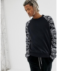 YOURTURN Raglan Sweatshirt In Black With Skull Print On Sleeves