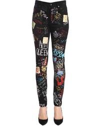 Dolce & Gabbana High Waist Printed Slim Fit Denim Jeans