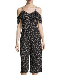 J.o.a. Flower Print Culotte Jumpsuit Black Pattern